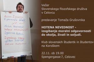 Pregled aktivnosti Slovenskega filozofskega društva v novembru
